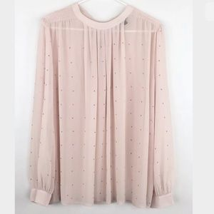 Ann Taylor Pink Sheer Pink Gold Studded Blouse